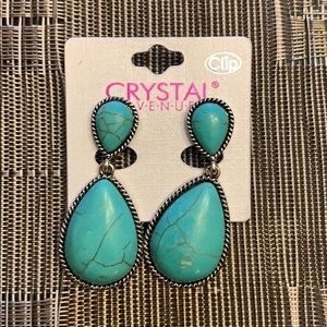 Clip on earrings, faux turquoise